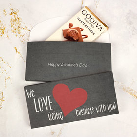 Deluxe Personalized Heart of Our Business Love Valentine's Day Godiva Chocolate Bar in Gift Box