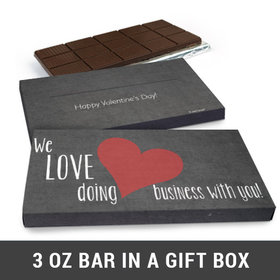 Deluxe Personalized Business Love Valentine's Day Chocolate Bar in Gift Box (3oz Bar)