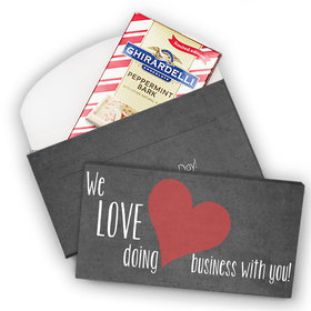 Deluxe Personalized Business Love Valentine's Day Ghirardelli Chocolate Bar in Gift Box (3.5oz)