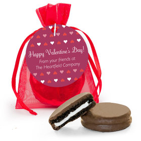 Personalized Valentine's Day Hearts Chocolate Covered Oreo Cookies in Organza Bags with Gift tag