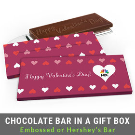 Deluxe Personalized Add Your Logo Hearts Valentine's Day Chocolate Bar in Gift Box