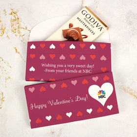 Deluxe Personalized Valentine's Day Add Your Heart Logo Godiva Chocolate Bar in Gift Box