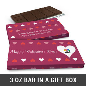 Deluxe Personalized Add Your Logo Hearts Valentine's Day Chocolate Bar in Gift Box (3oz Bar)