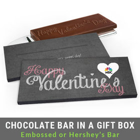 Deluxe Personalized Charcoal Heart Valentine's Day Chocolate Bar in Gift Box
