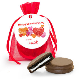 Personalized Valentine's Day Conversation Hearts Chocolate Covered Oreo Cookies in Organza Bags