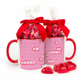 Personalized Valentine's Day Crossword Puzzle 11oz Red Mug with Milk Chocolate Hearts