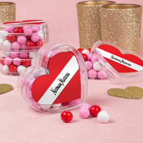 Personalized Add Your Logo Valentine's Day Favors Assembled Acrylic Heart Container with Sixlets