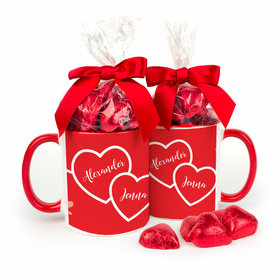 Personalized Valentine's Day 2 Hearts Become 1 11oz Mug with Milk Chocolate Hearts