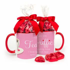 Personalized Valentine's Day You are Tea-Riffic 11oz Red Mug with Milk Chocolate Hearts