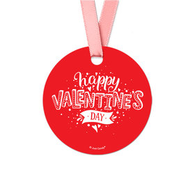 Hearts and Hugs Valentine's Day Round Favor Gift Tags (20 Pack)