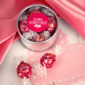 Personalized Valentine's Day Plastic Gift Tin Approx 9 Lindor Truffles by Lindt