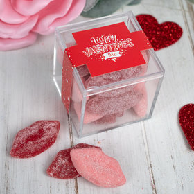 Personalized Valentine's Day Hearts and Hugs JUST CANDY® favor cube with Jelly Belly Smoochi Lips