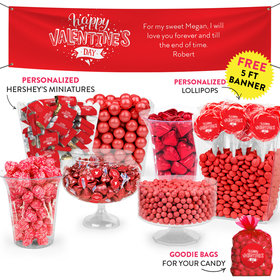 Personalized Valentine's Day Hearts and Hugs Deluxe Candy Buffet