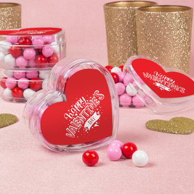 Personalized Hearts & Hugs Valentine's Day Favors Assembled Acrylic Heart Container with Sixlets
