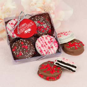 Valentine's Day Hearts and Hugs Gourmet Belgian Chocolate Covered Oreos 4pc Gift Box