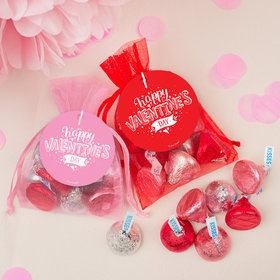 Personalized Valentine's Day Hearts and Hugs Hershey's Kisses in Organza Bags with Gift Tag