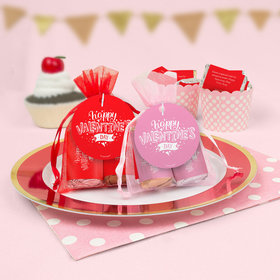 Personalized Valentine's Day Hearts and Hugs Hershey's Miniatures in Organza Bags with Gift Tag