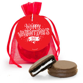Personalized Valentine's Day Hearts and Hugs Milk Chocolate Covered Oreo in Organza Bags with Gift Tag