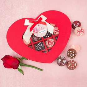 Personalized Valentine's Day Sending Hearts Add Your Logo Gourmet Belgian Chocolate Truffle Heart Gift Box (16 Truffles)