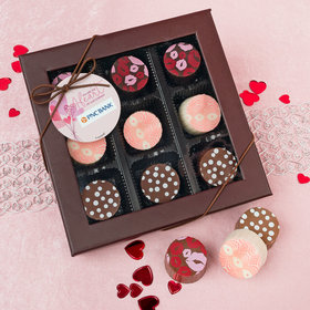 Personalized Valentine's Day Sending Hearts Add Your Logo Belgian Chocolate Truffle Gift Box (9 Truffles)