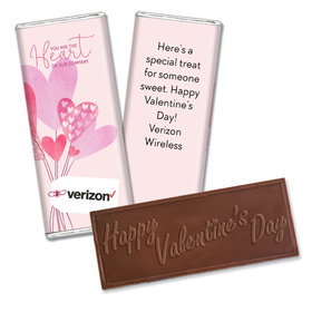 Personalized Valentine's Day Sending Hearts Add Your Logo Hershey's Embossed Chocolate Bar & Wrapper