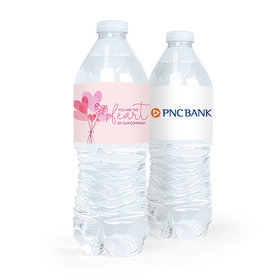 Valentine's Day Sending Hearts Add Your Logo Water Bottle Sticker Labels (5 Labels)