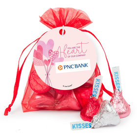 Personalized Valentine's Day Sending Hearts Add Your Logo Hershey's Kisses in Organza Bags with Gift Tag