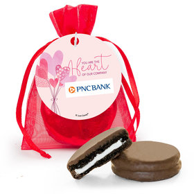 Personalized Valentine's Day Sending Hearts Add Your Logo Milk Chocolate Covered Oreo in Organza Bags with Gift Tag