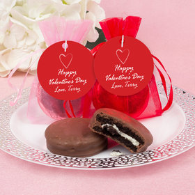 Personalized Valentine's Day Happy Heart Chocolate Covered Oreo Cookies in Organza Bags