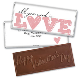 Personalized Valentine's Day All You Need is Love Hershey's Embossed Chocolate Bar & Wrapper