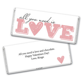 Personalized Valentine's Day All You Need is Love Hershey's Chocolate Bar & Wrapper