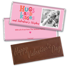 Personalized Valentine's Day Hugs and Kisses Hershey's Embossed Chocolate Bar & Wrapper