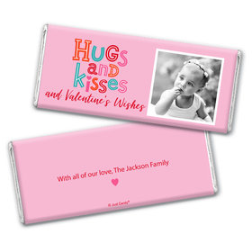 Personalized Valentine's Day Hugs and Kisses Chocolate Bar Wrappers Only