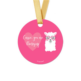 Personalized Valentine's Day Love Llama Round Favor Gift Tags (20 Pack)