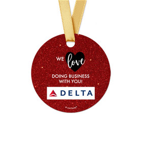 Personalized Valentine's Day Corporate Dazzle Round Favor Gift Tags (20 Pack)