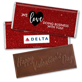 Personalized Valentine's Day Corporate Dazzle Hershey's Embossed Chocolate Bar & Wrapper