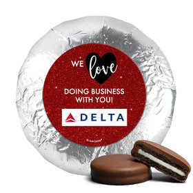 Personalized Valentine's Day Corporate Dazzle Milk Chocolate Covered Oreos (24 Pack)