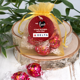 Personalized Valentine's Day Add Your Logo Dazzle Lindor Truffles by Lindt in Organza Bags with Gift Tag