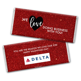 Personalized Valentine's Day Corporate Dazzle Hershey's Chocolate Bar & Wrapper