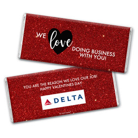 Personalized Valentine's Day Corporate Dazzle Chocolate Bar Wrappers Only