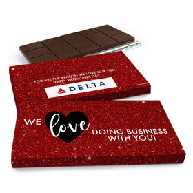 Deluxe Personalized Corporate Dazzle Valentine's Day Chocolate Bar in Gift Box (3oz Bar)