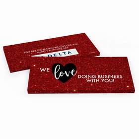 Deluxe Personalized Corporate Dazzle Valentine's Day Chocolate Bar in Gift Box