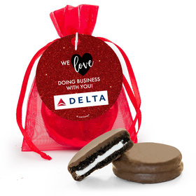 Personalized Valentine's Day Corporate Dazzle Add Your Logo Milk Chocolate Covered Oreo in Organza Bags with Gift Tag
