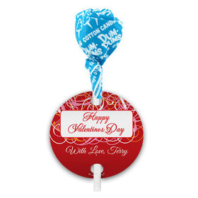 Personalized Swirls Valentine's Day Dum Dums with Gift Tag (75 pops)