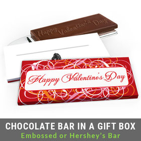 Deluxe Personalized Add Your Logo Swirls Valentine's Day Chocolate Bar in Gift Box