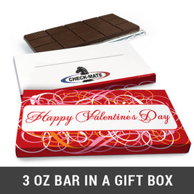 Deluxe Personalized Add Your Logo Swirls Valentine's Day Chocolate Bar in Gift Box (3oz Bar)