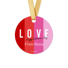 Personalized Valentine's Day Color Block Love Round Favor Gift Tags (20 Pack)