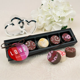 Personalized Valentine's Day Color Block Love Gourmet Belgian Chocolate Truffle Gift Box (5 Truffles)