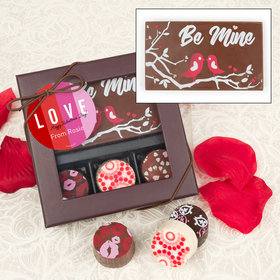 Personalized Valentine's Day Color Block Love Gourmet Belgian Chocolate Bar and Truffles (3 Truffles)