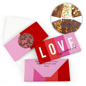 Personalized Color Block Love Valentine's Day Gourmet Infused Chocolate Bars (3.5oz)